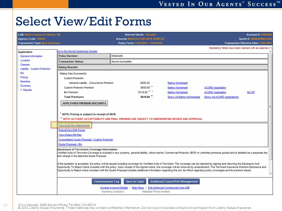 Select View/Edit Forms