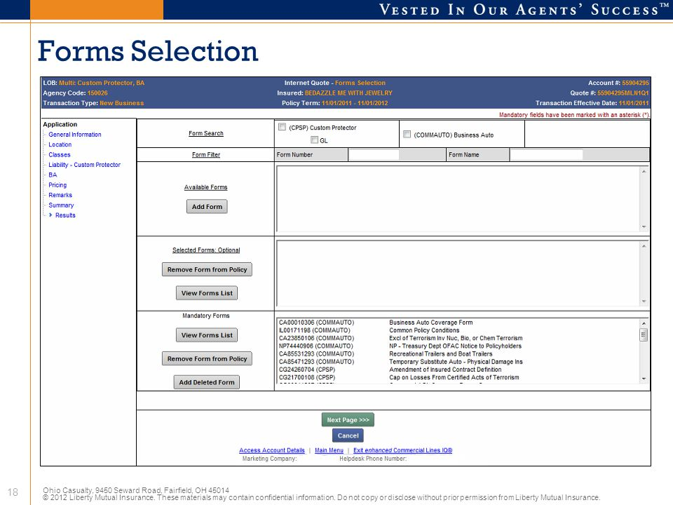Forms Selection