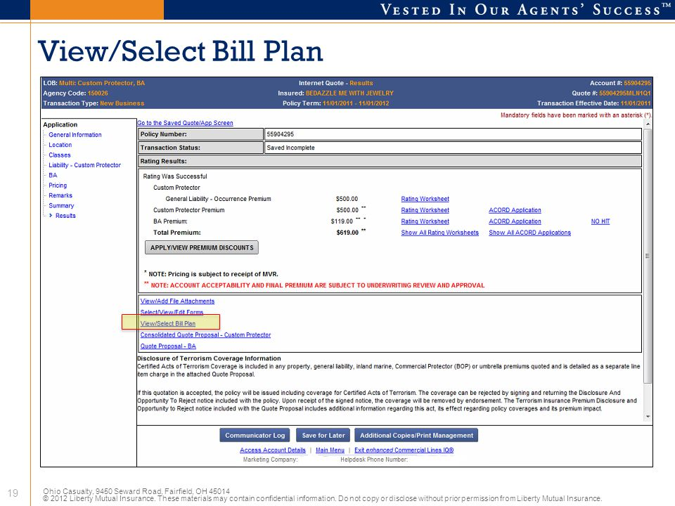 View/Select Bill Plan
