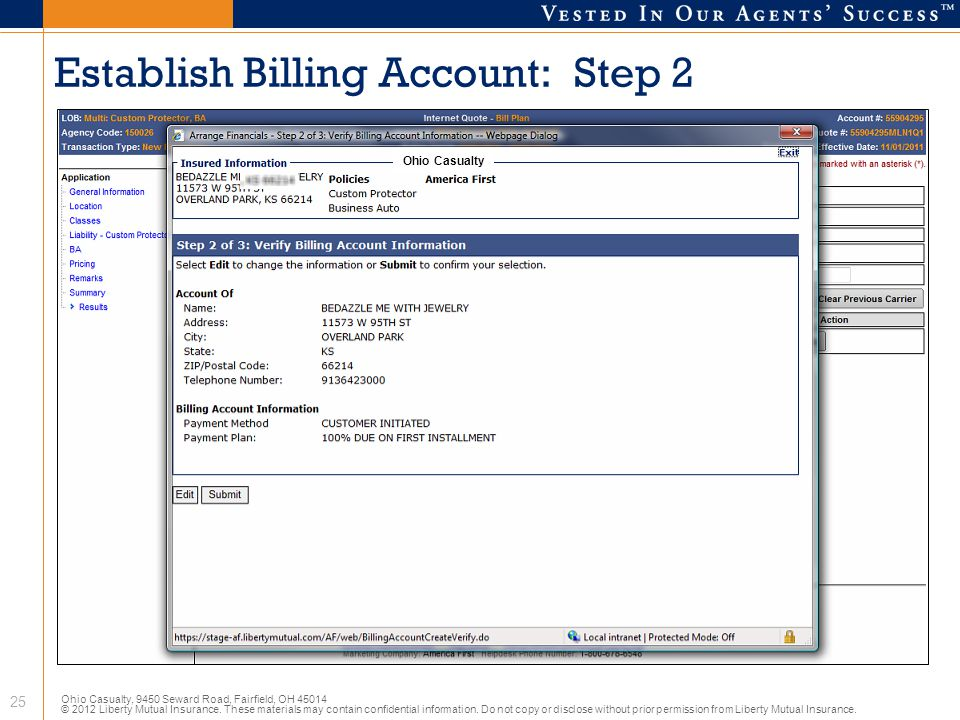 Establish Billing Account: Step 2