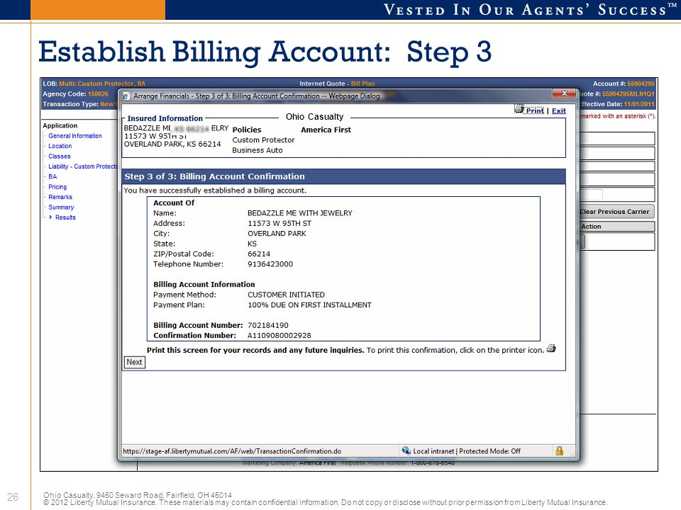 Establish Billing Account: Step 3
