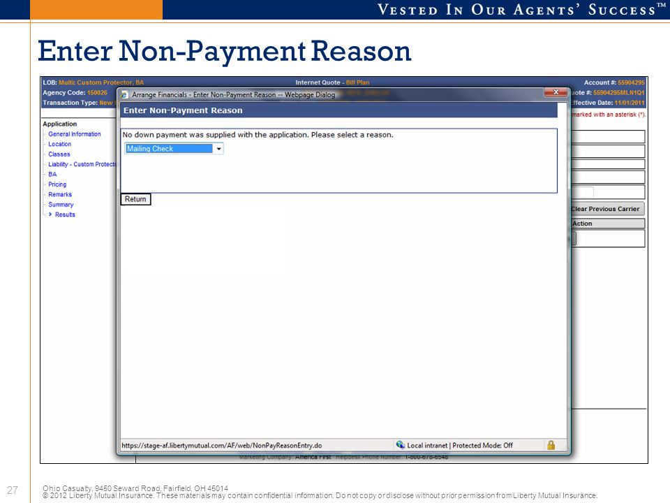 Enter Non-Payment Reason