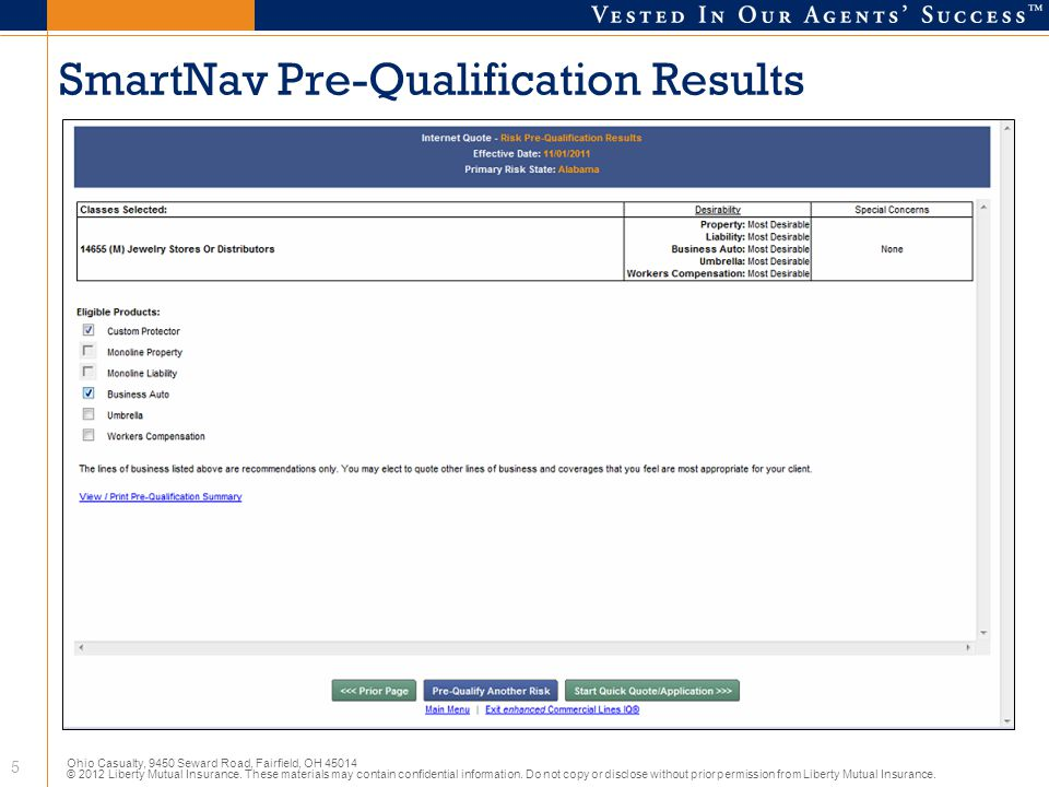 SmartNav Pre-Qualification Results