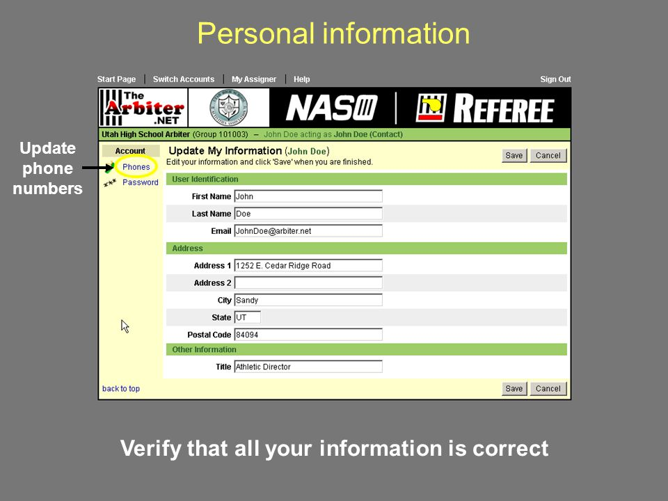 Verify that all your information is correct