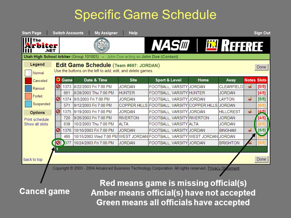 Specific Game Schedule