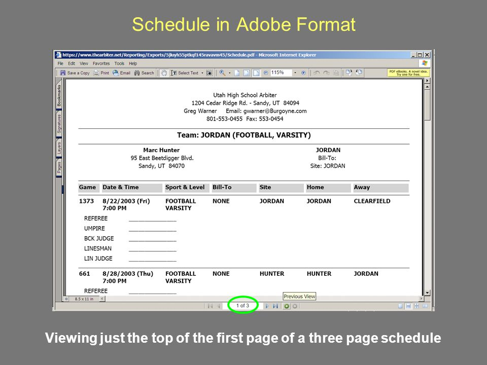 Schedule in Adobe Format