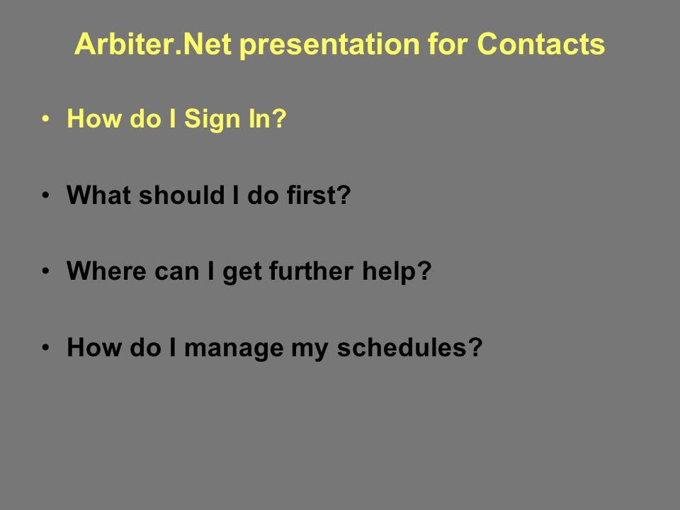Arbiter.Net presentation for Contacts