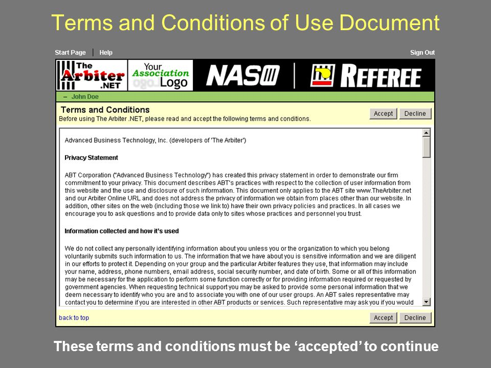 Terms and Conditions of Use Document
