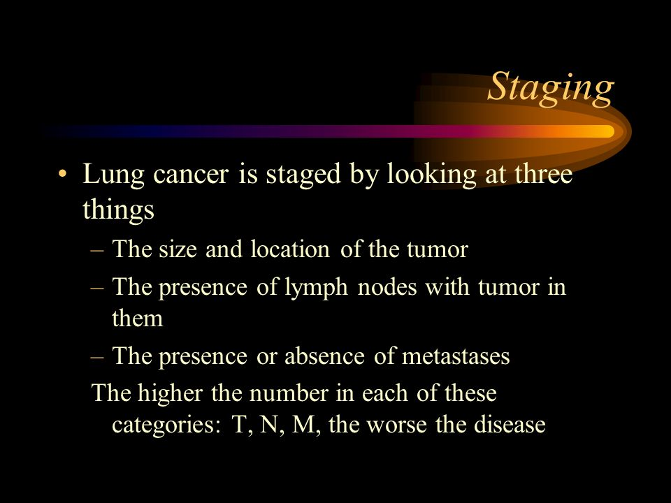 Staging Lung cancer is staged by looking at three things