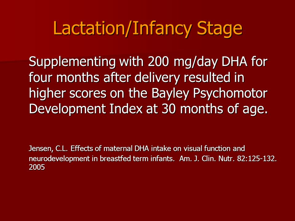 Lactation/Infancy Stage