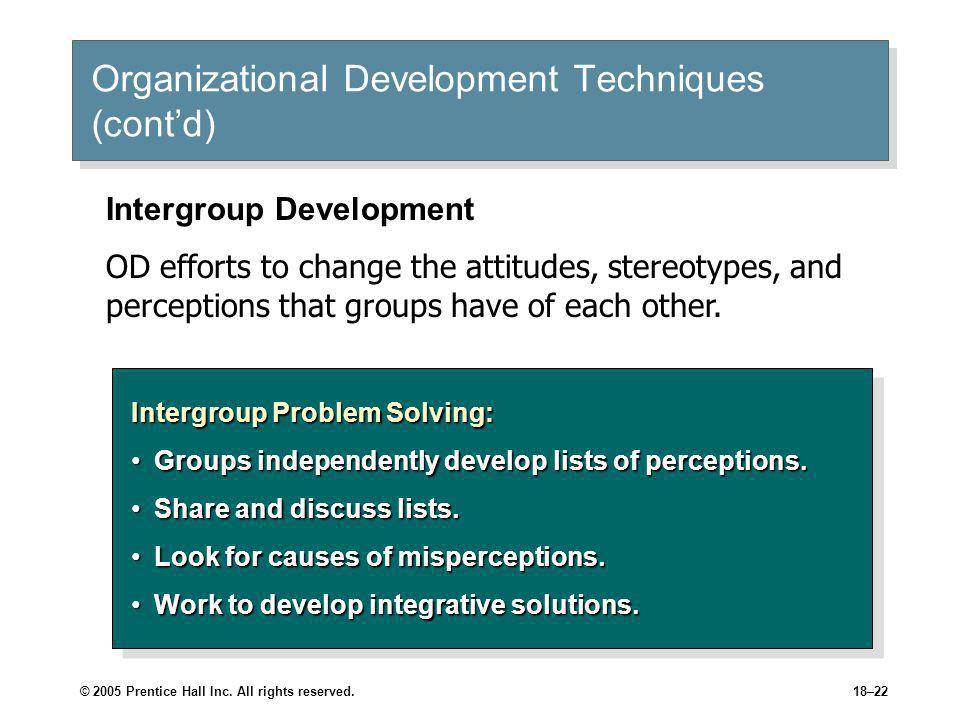 Organizational Development Techniques (cont'd)