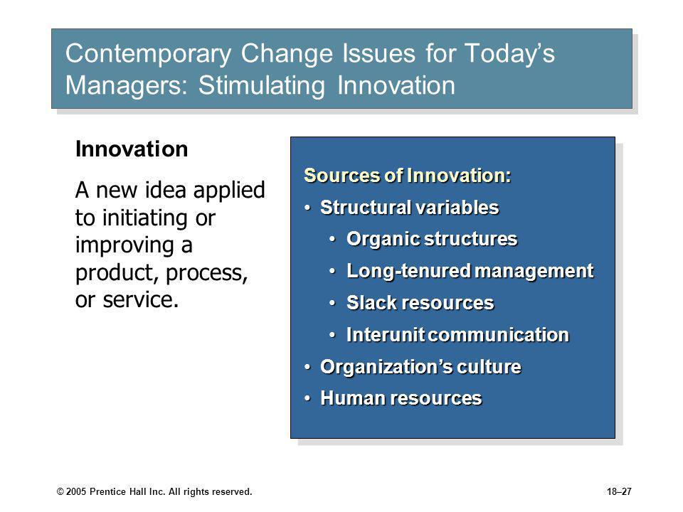 Contemporary Change Issues for Today's Managers: Stimulating Innovation (cont'd)