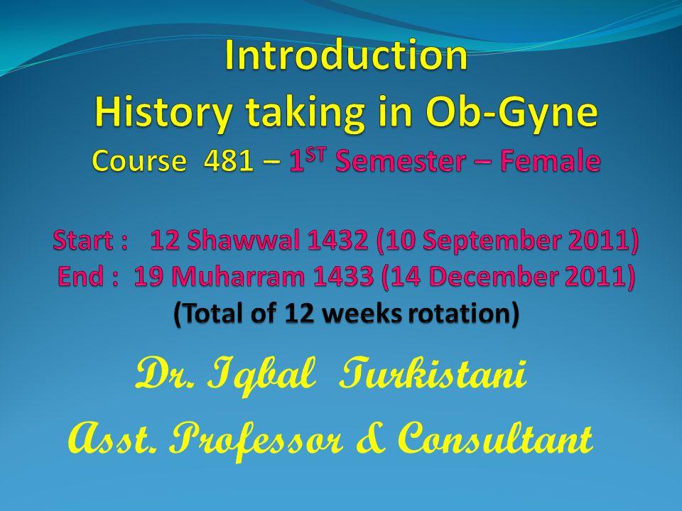 Dr. Iqbal Turkistani Asst. Professor & Consultant