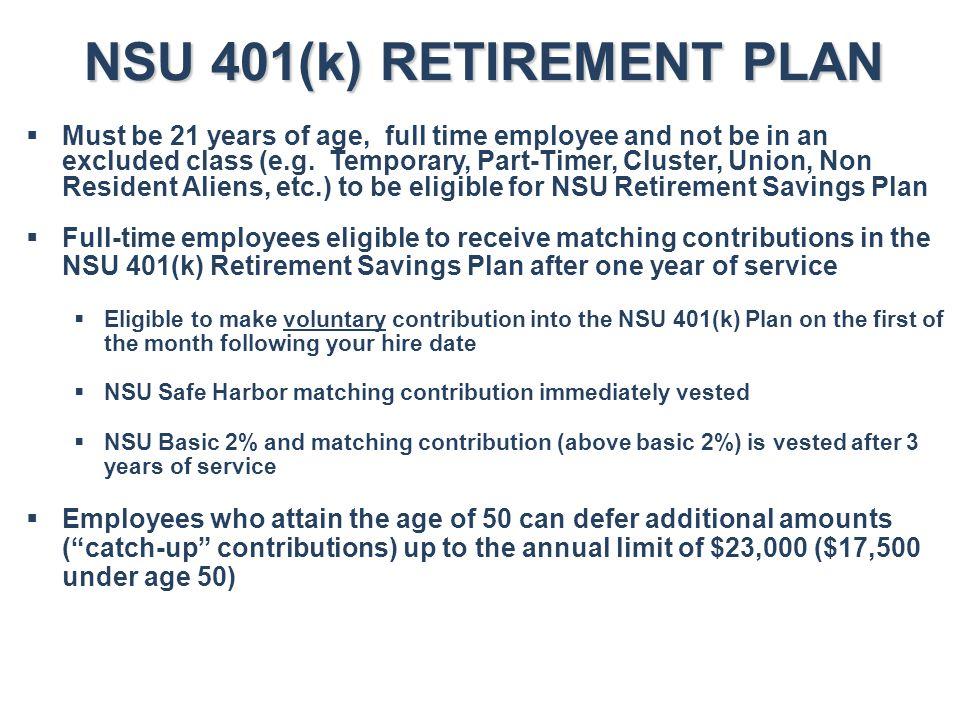 NSU 401(k) RETIREMENT PLAN