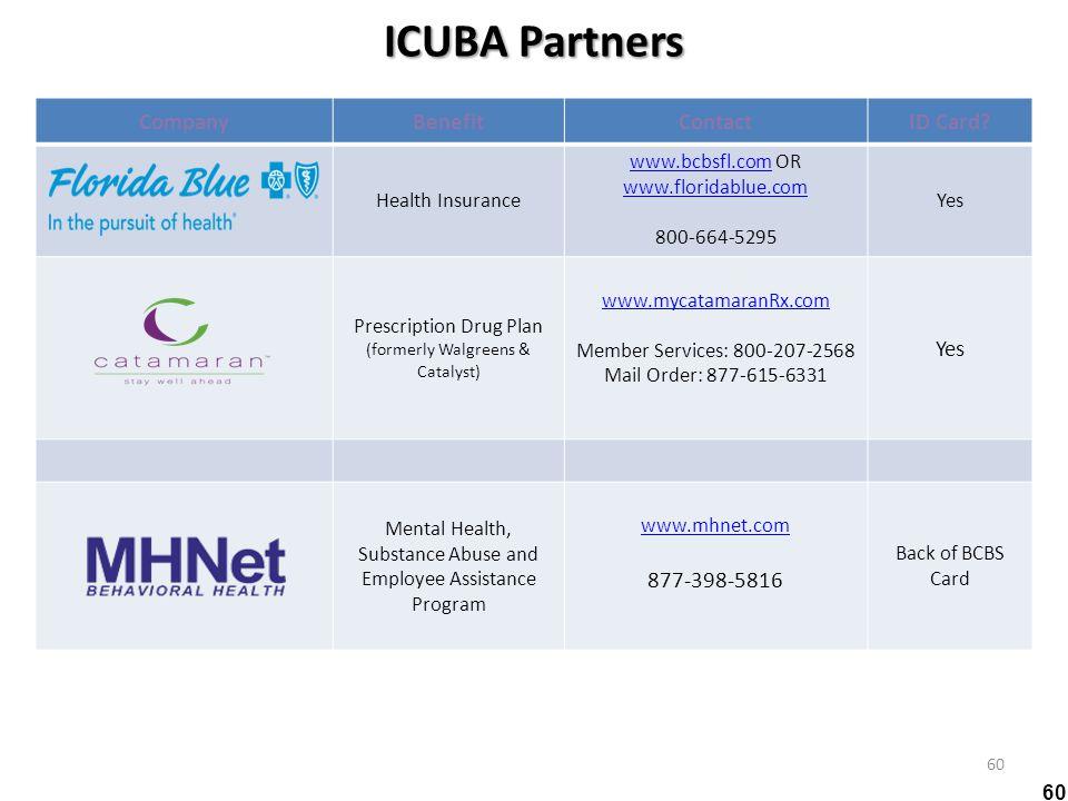 ICUBA Partners Company Benefit Contact ID Card 877-398-5816