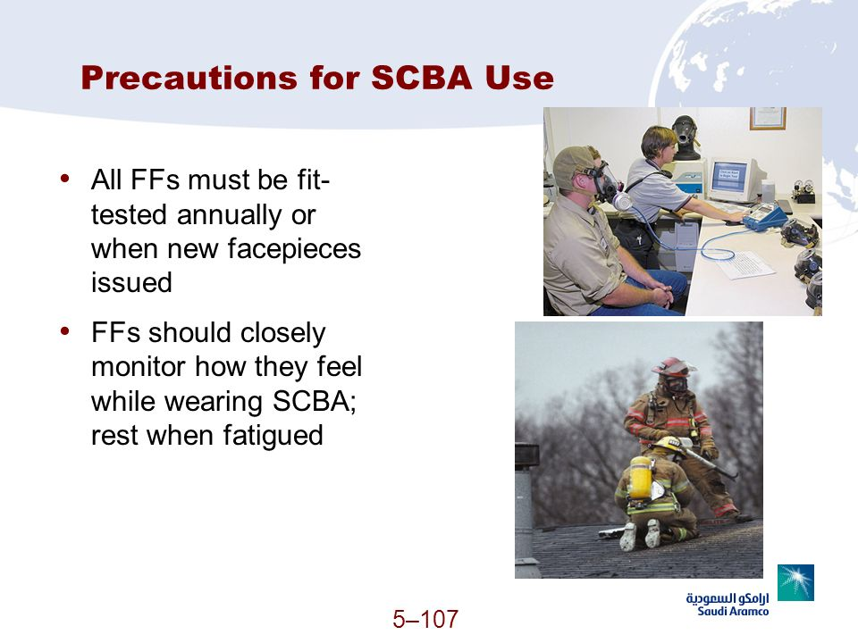 Precautions for SCBA Use