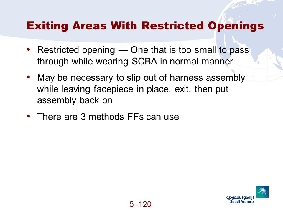 Exiting Areas With Restricted Openings