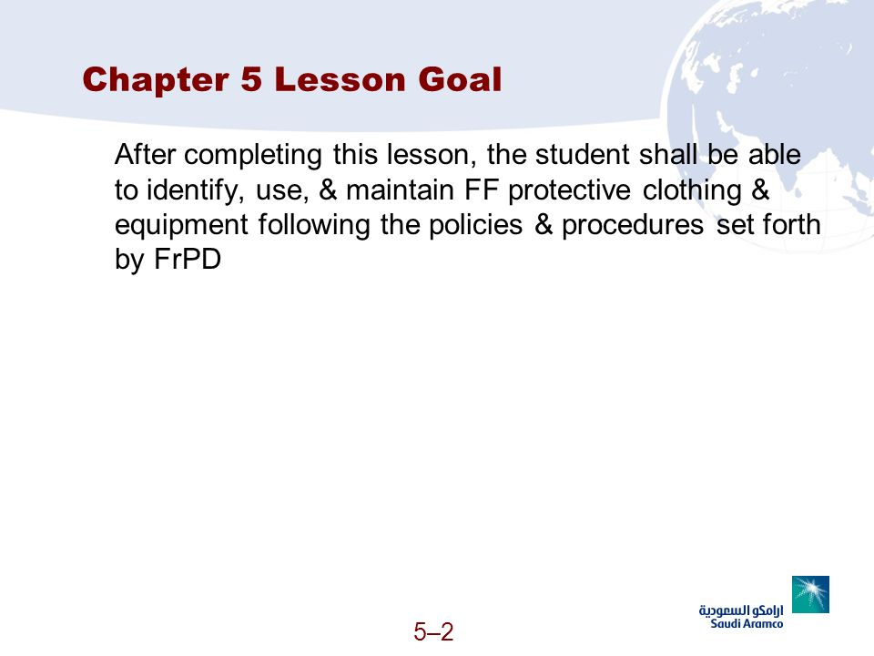 Chapter 5 Lesson Goal