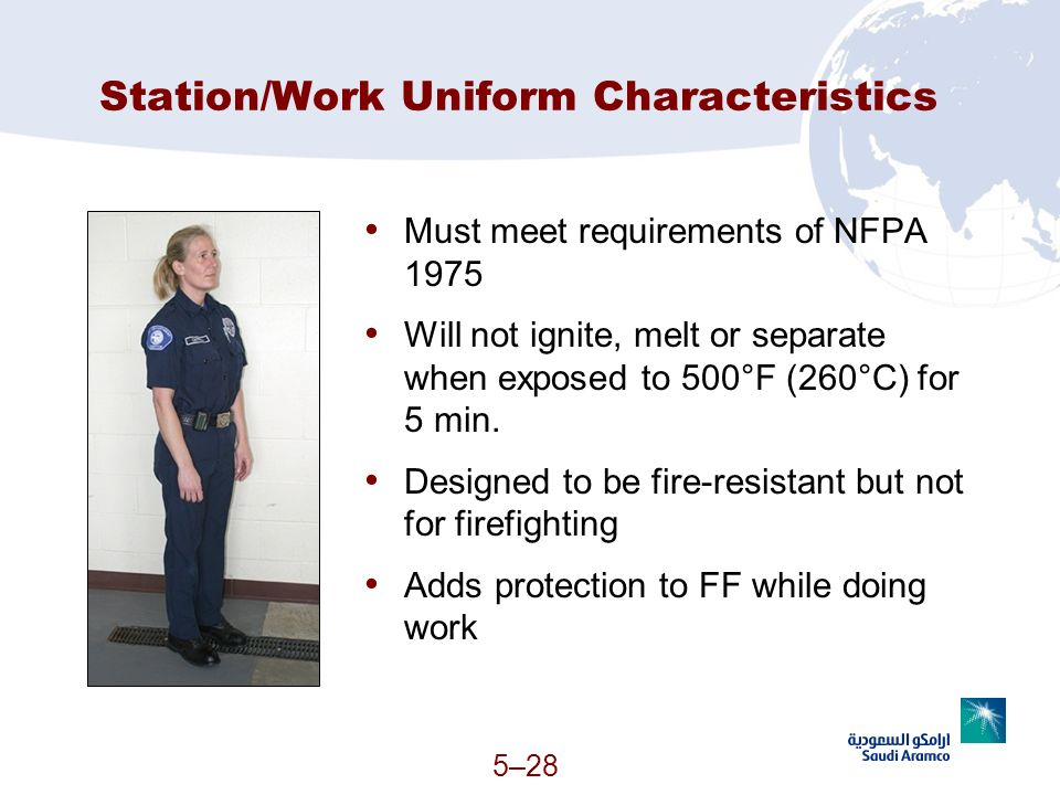 Station/Work Uniform Characteristics