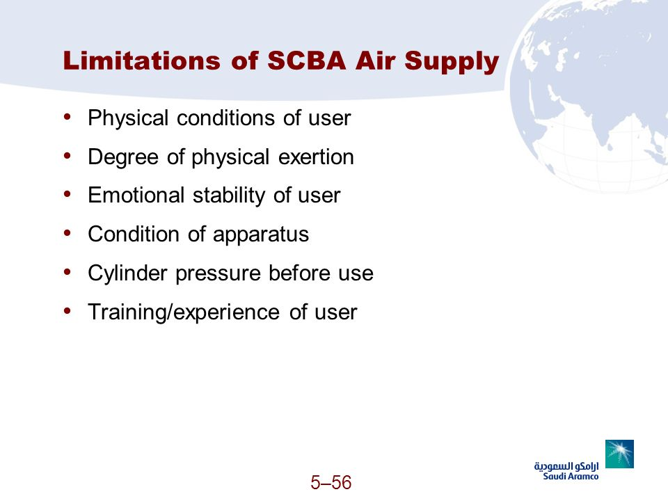 Limitations of SCBA Air Supply