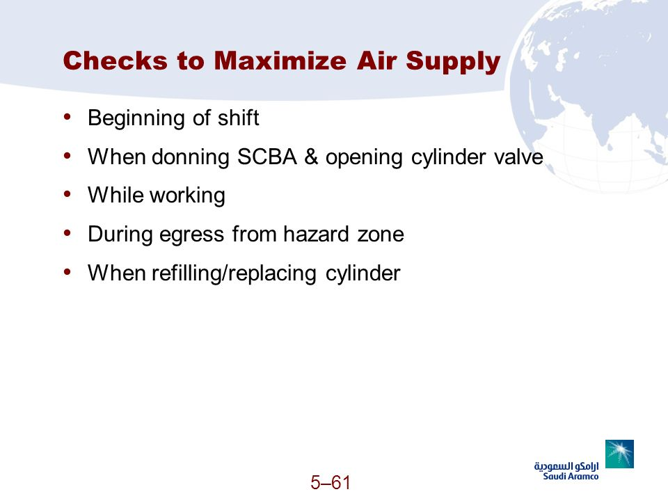 Checks to Maximize Air Supply