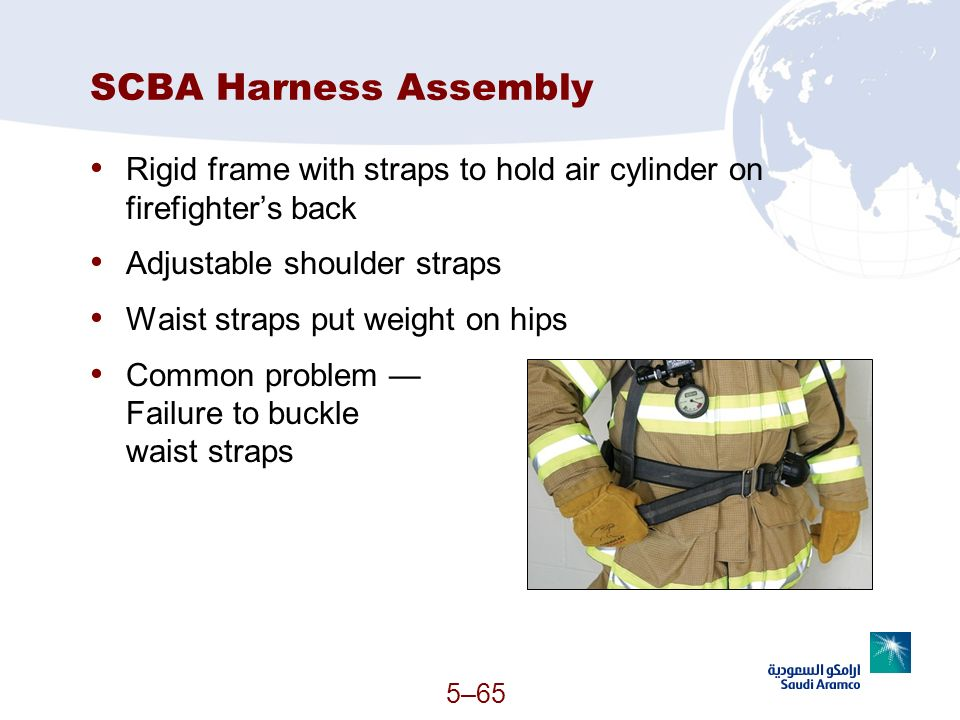 SCBA Harness Assembly Rigid frame with straps to hold air cylinder on firefighter's back. Adjustable shoulder straps.