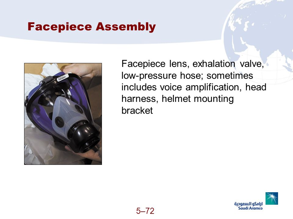 Facepiece Assembly Facepiece lens, exhalation valve, low-pressure hose; sometimes includes voice amplification, head harness, helmet mounting bracket.