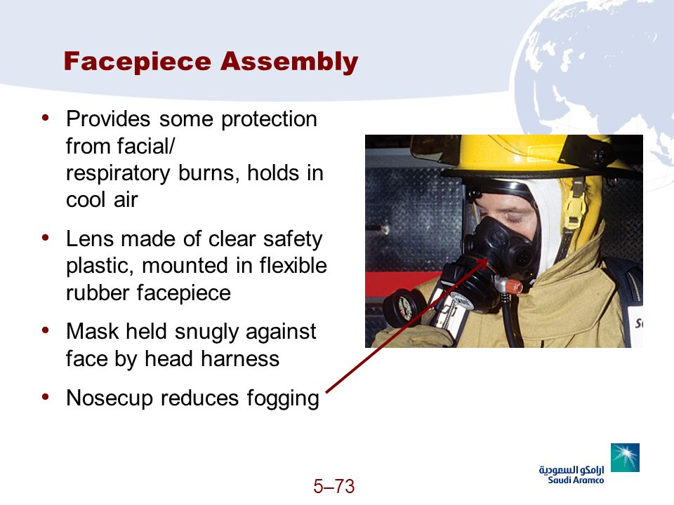 Facepiece Assembly Provides some protection from facial/ respiratory burns, holds in cool air.