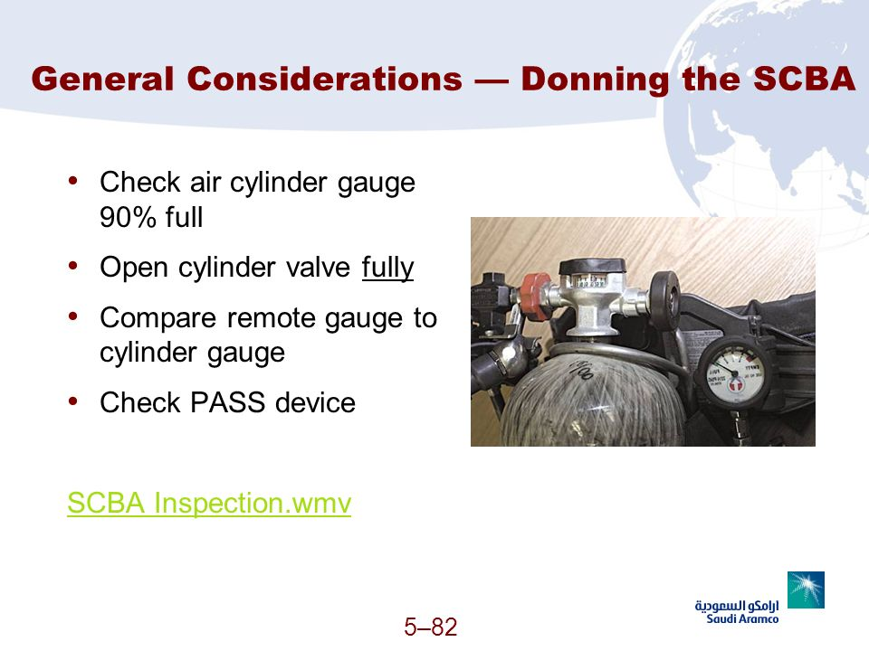 General Considerations — Donning the SCBA