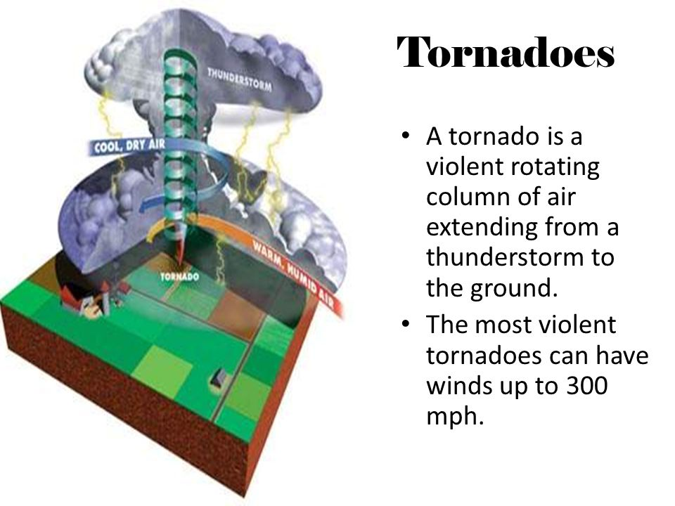 Tornadoes A tornado is a violent rotating column of air extending from a thunderstorm to the ground.