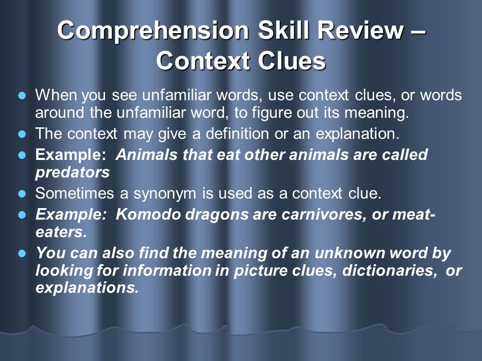 Comprehension Skill Review – Context Clues