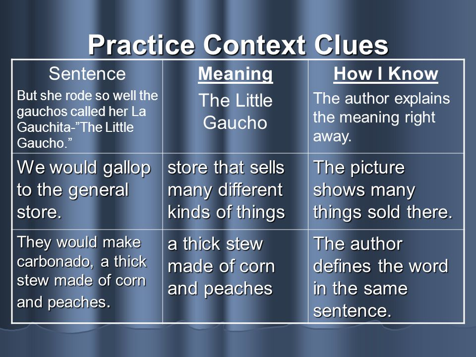 Practice Context Clues
