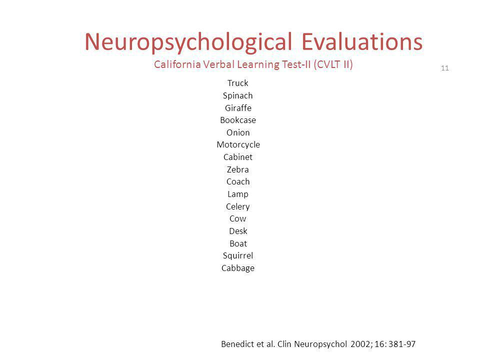 Neuropsychological Evaluations California Verbal Learning Test-II (CVLT II)
