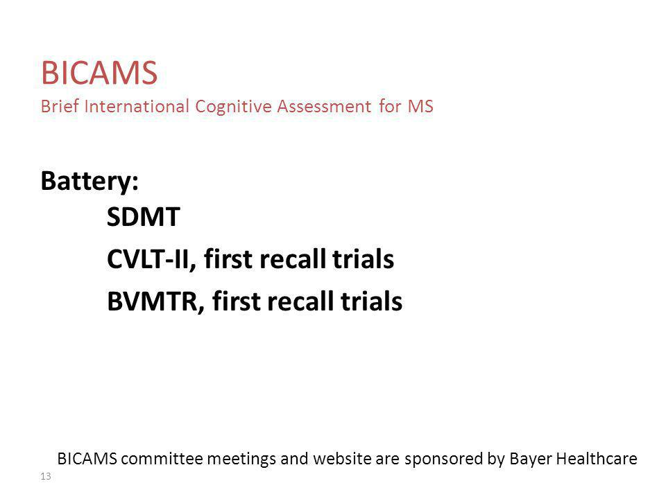 BICAMS Brief International Cognitive Assessment for MS
