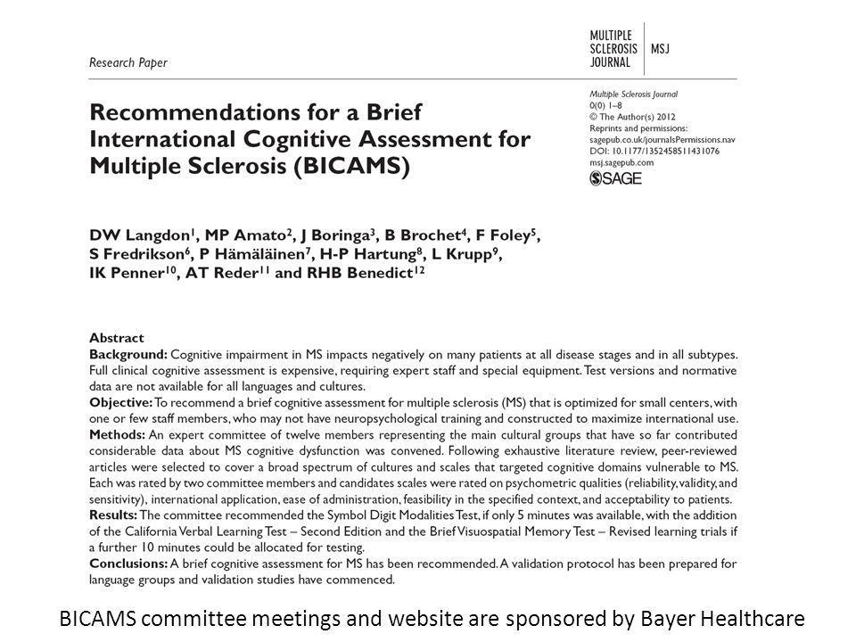 BICAMS committee meetings and website are sponsored by Bayer Healthcare