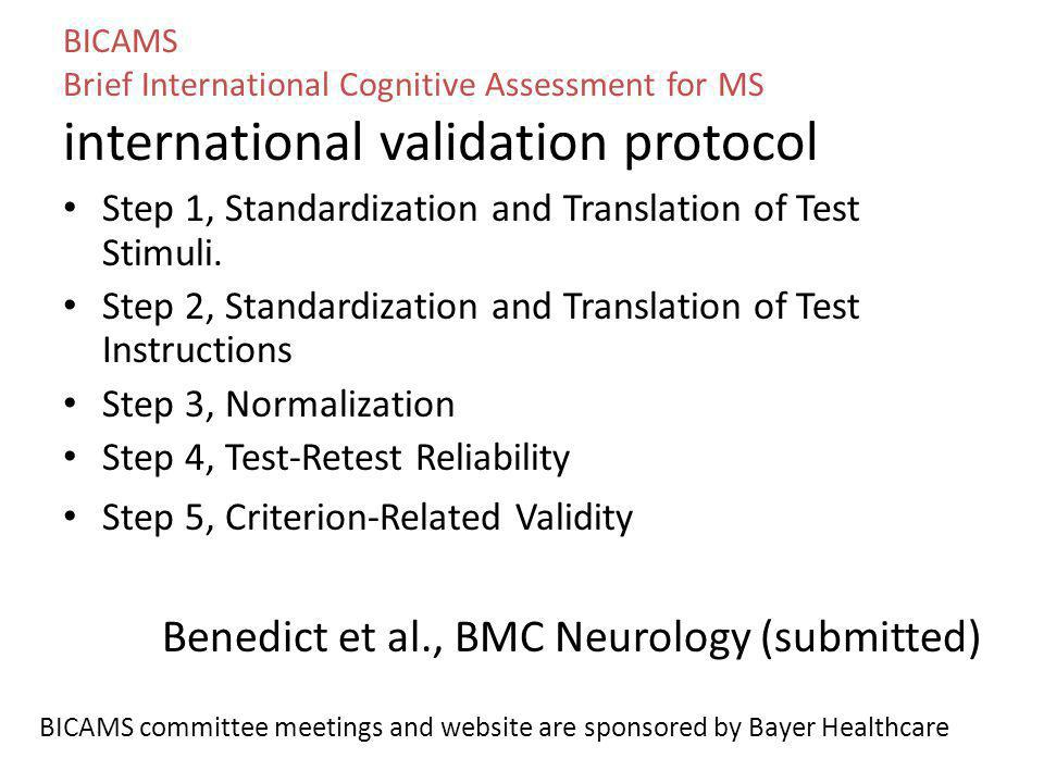 Benedict et al., BMC Neurology (submitted)