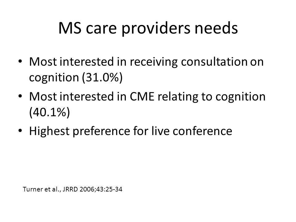 MS care providers needs