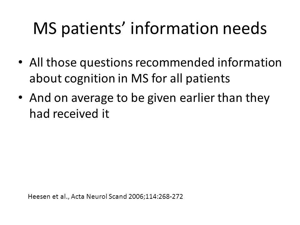 MS patients' information needs