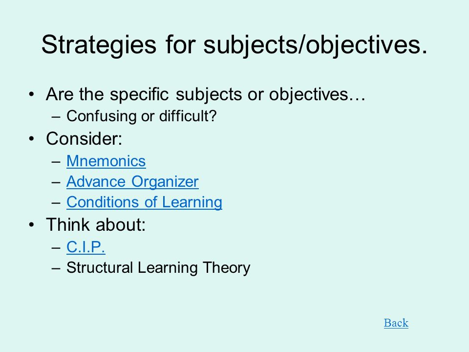 Strategies for subjects/objectives.