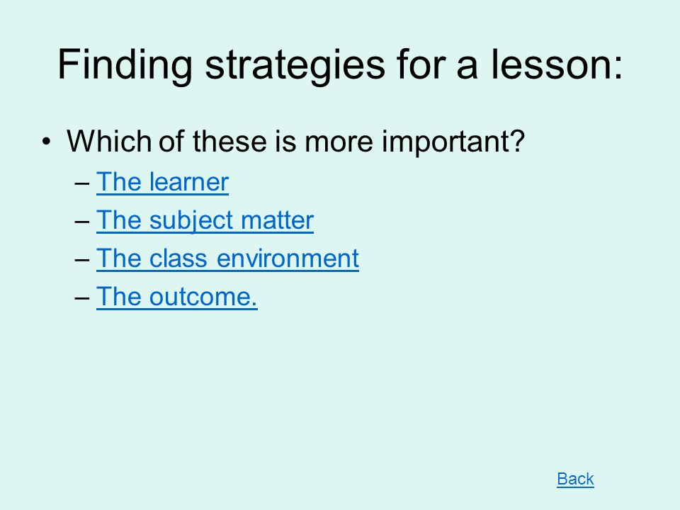 Finding strategies for a lesson: