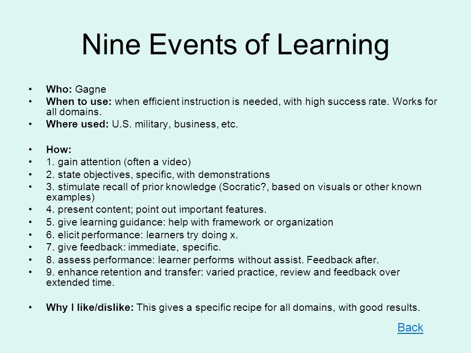 Nine Events of Learning