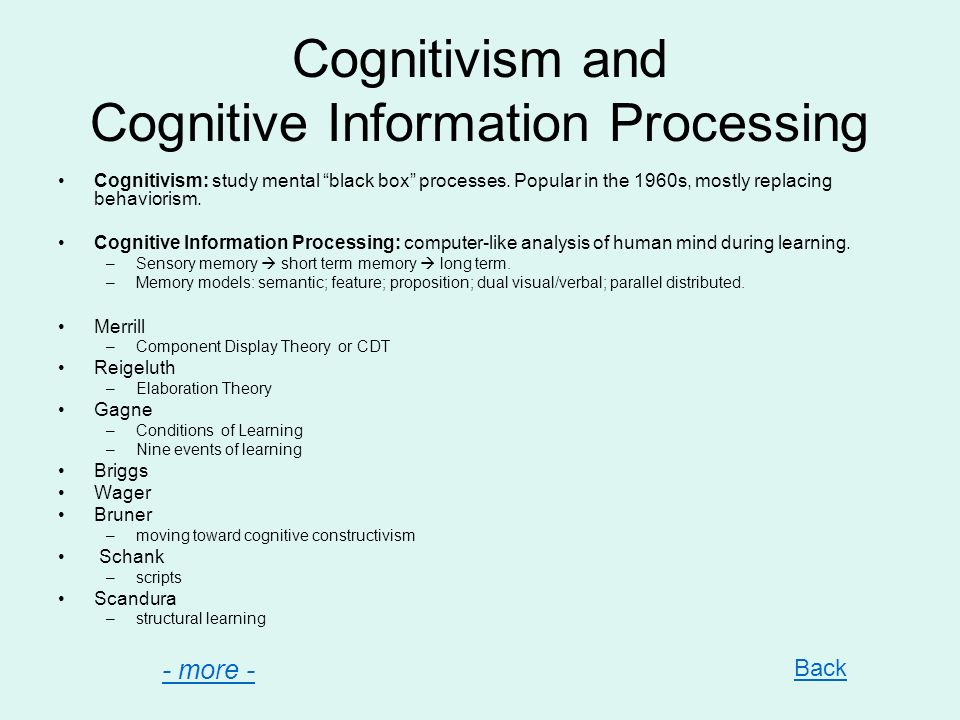 Cognitivism and Cognitive Information Processing