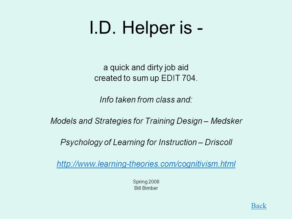 I.D. Helper is - a quick and dirty job aid created to sum up EDIT 704.