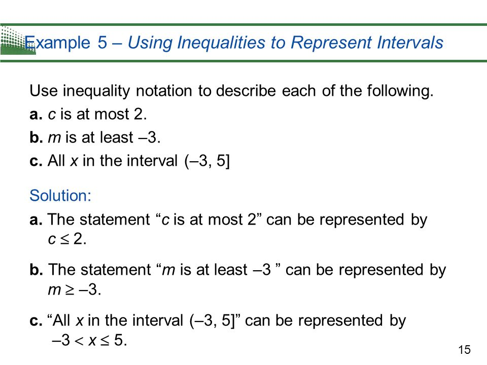 Example 5 – Using Inequalities to Represent Intervals