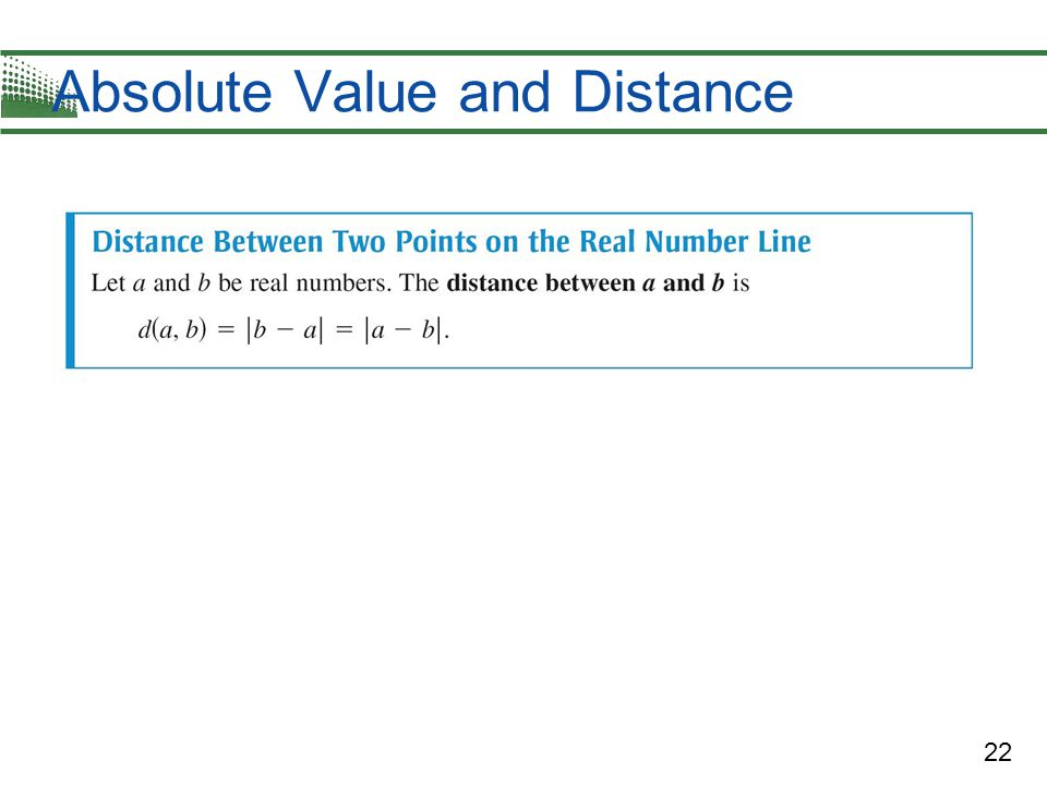 Absolute Value and Distance