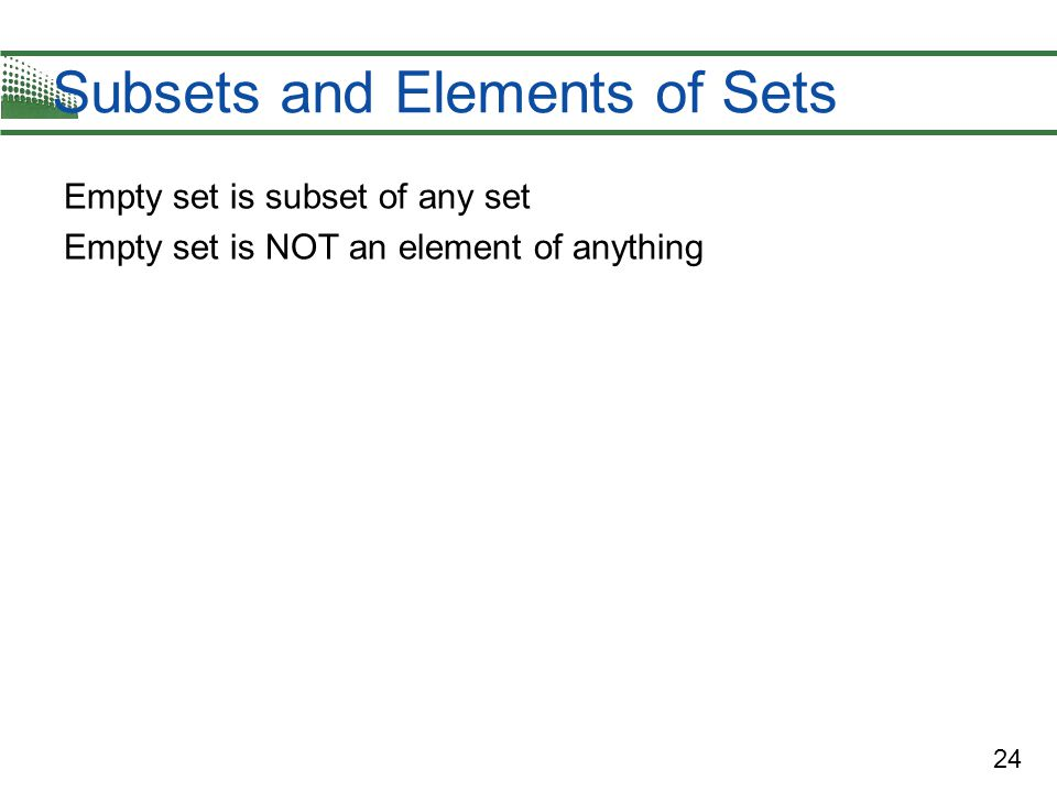 Subsets and Elements of Sets
