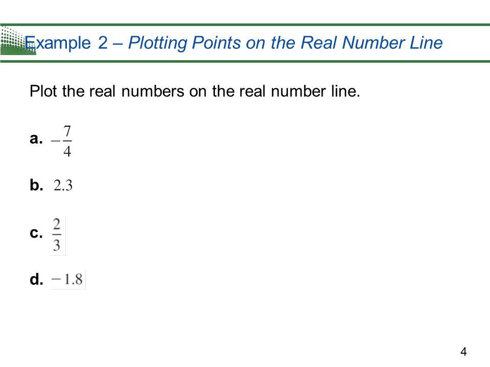 Example 2 – Plotting Points on the Real Number Line
