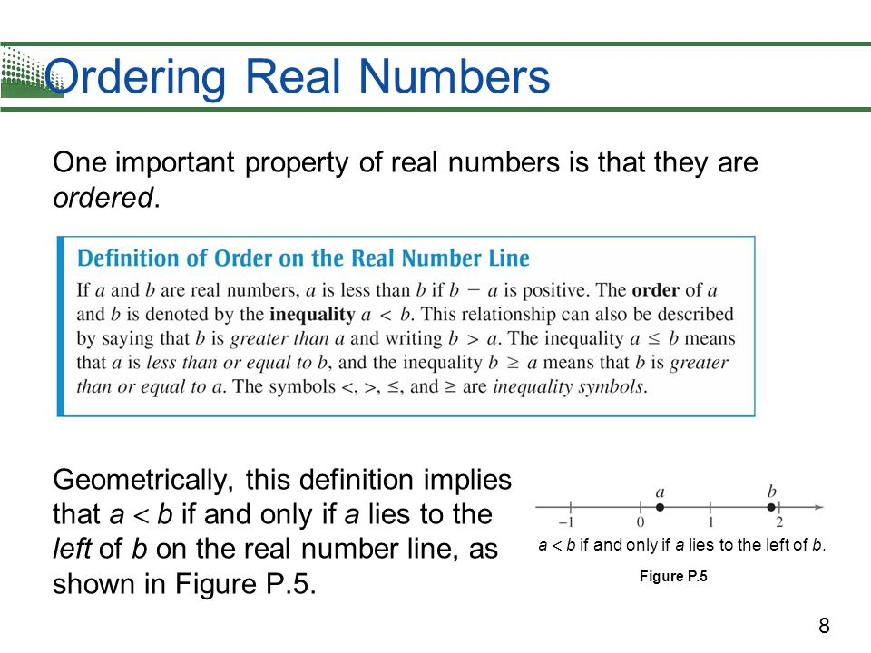 Ordering Real Numbers One important property of real numbers is that they are ordered.