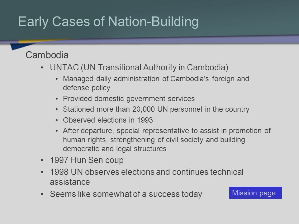 Early Cases of Nation-Building
