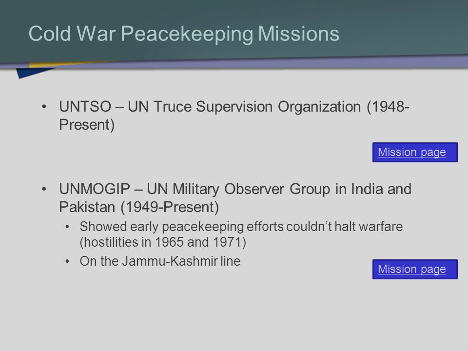 Cold War Peacekeeping Missions